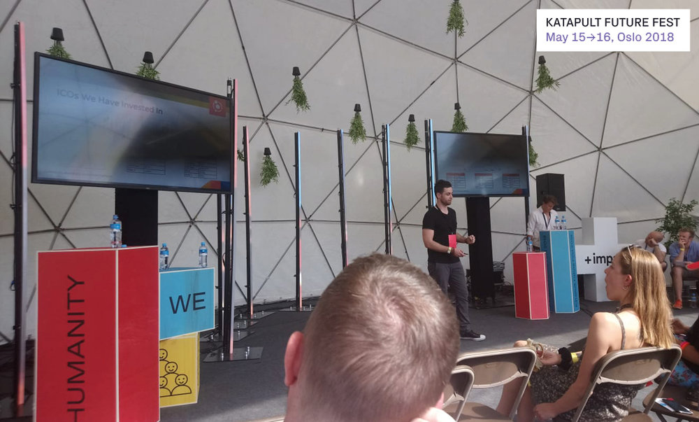 We were even invited to Oslo, Norway to speak at    Katapult Future Fest   . Here's our co-founder, Erik, presenting the Cartel ICO Platform on-stage