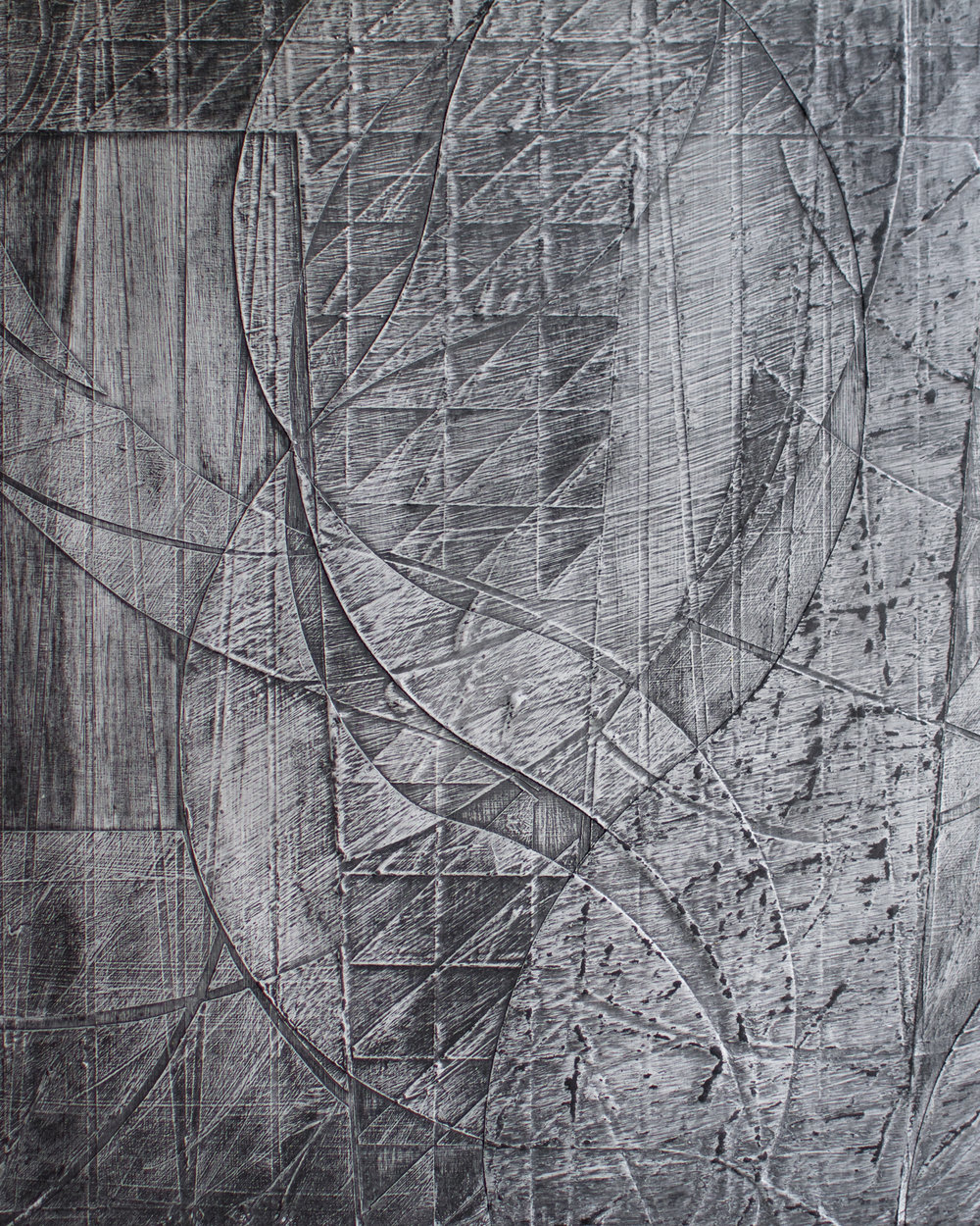 'Lamorva' 32 x 32cm, 2018. Acrylic & Graphite on Board.  Sold
