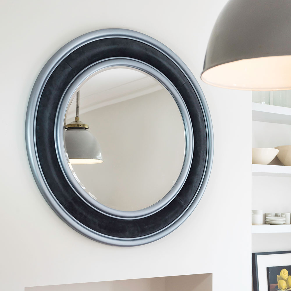 SATURN MIRROR IN DARK GREY SUEDE WITH GRAPHITE HAND PAINTED RINGS     Diameter:  120cm