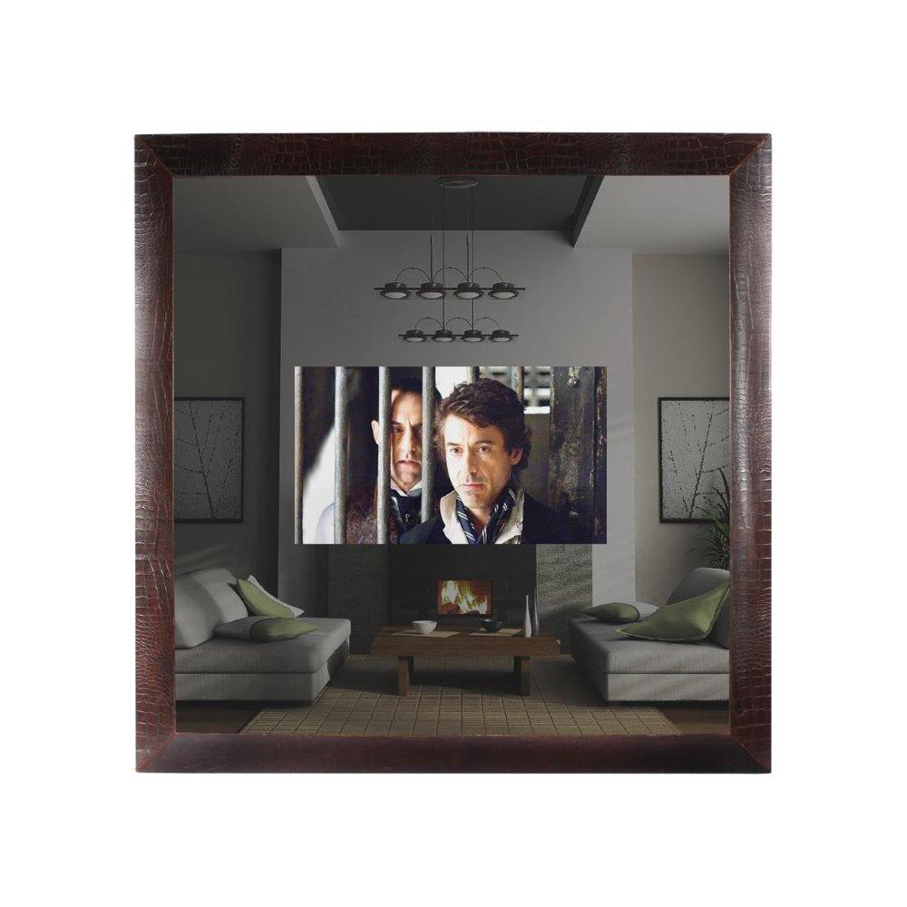 "CONCAVE TV MIRROR IN VINTAGE BROWN CROC HOUSING A 40"" TV Dimension: W 186cm x H 186cm"