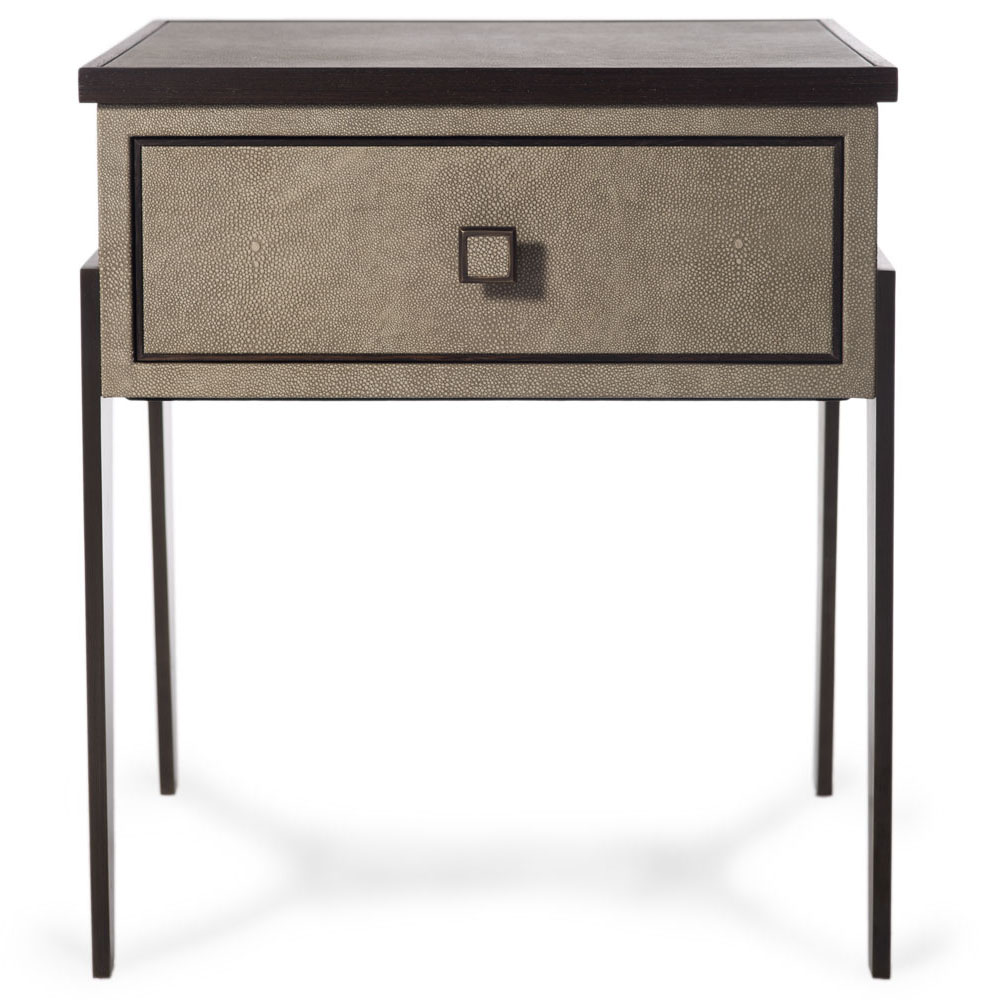 BYZANTINE BEDSIDE Finished in Smoke Faux Shagreen with Antique Brass Fittings    Dimension: W 50cm x   D 35cm x   H 60cm