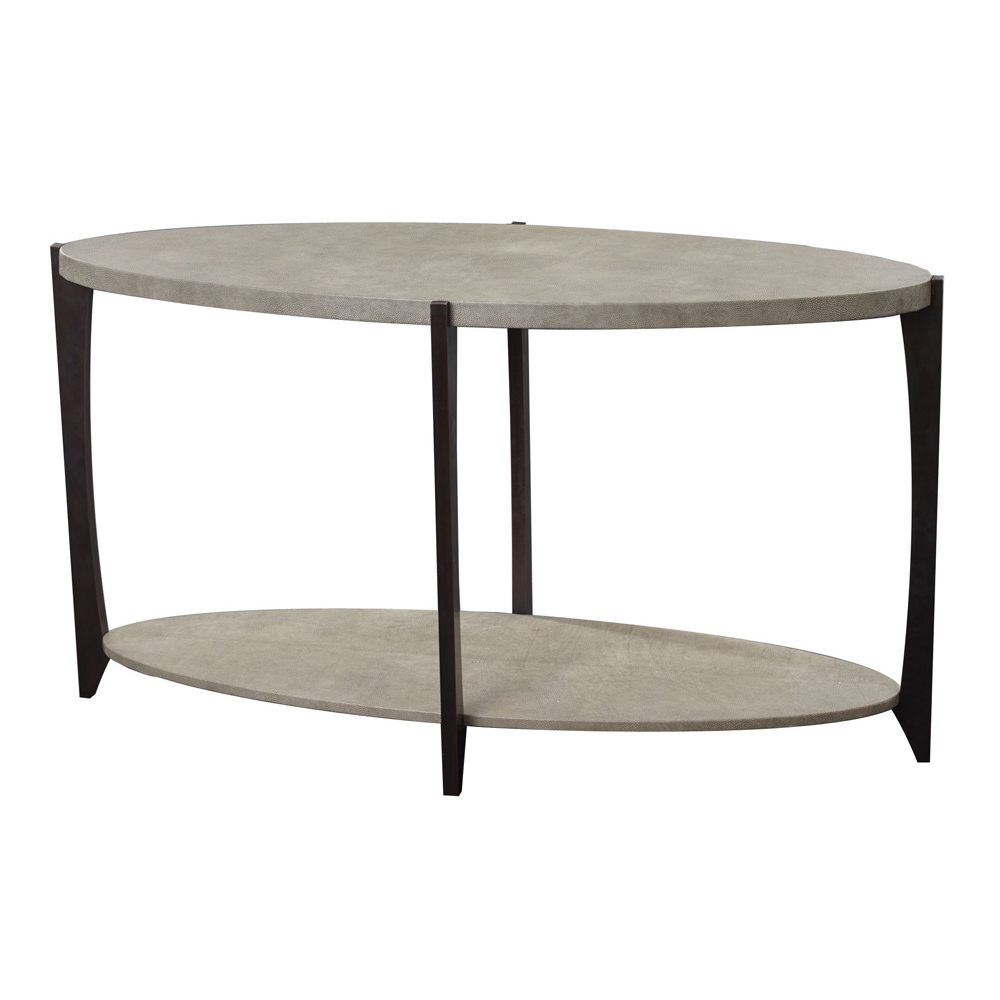 BELVEDERE OVAL CONSOLE Finished in Smoke Faux Shagreen   Dimension: W 140cm x D 50cm x H 80cm