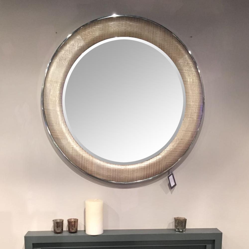 ROUND SAXON WITH CHROME IN METALLIC LIZARD PEARL Diameter: 90cm
