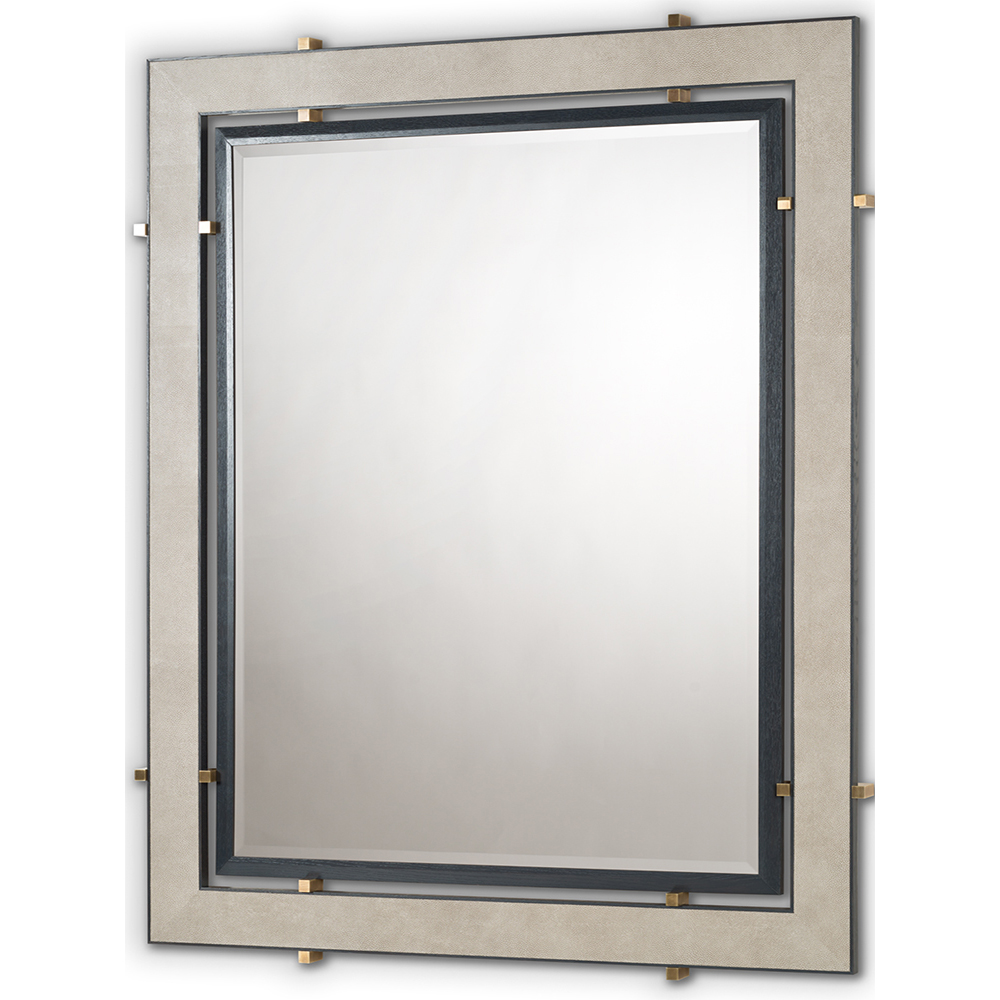 BROMPTON MIRROR IN SMOKE FAUX SHAGREEN, GREY OAK AND ANTIQUE BRASS    Dimension:  W 120cm  x  H 150cm