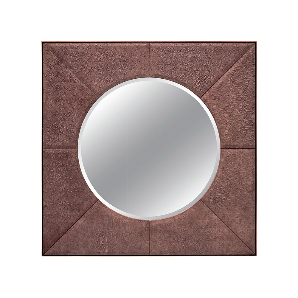 FRANKLIN ROUND MIRROR IN MOCHA PRISMA AND ANTIQUE BRASS    Dimension:  W 12  0cm  x  H 12  0cm