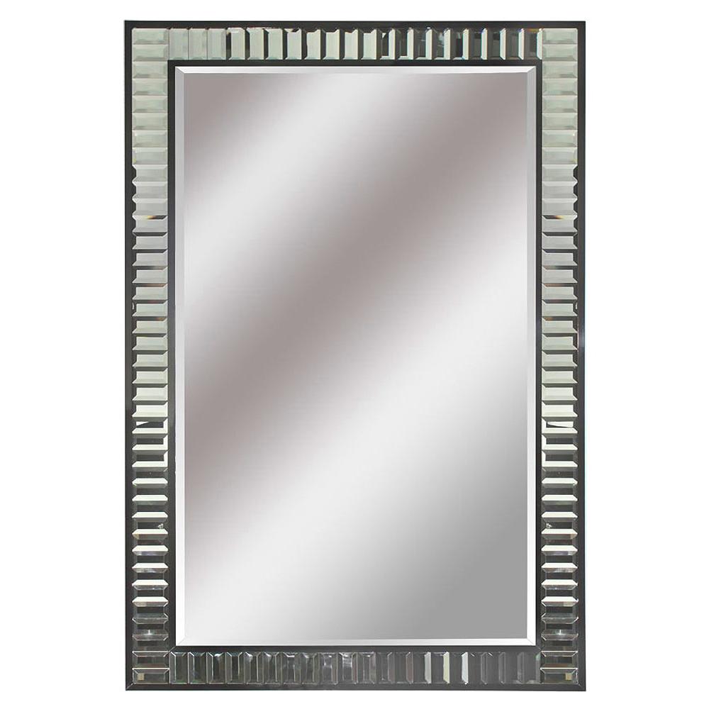 CHARLESTON MINI TIFFANY MIRROR WITH SILVER MOULDING Dimension: W 111cm x 141cm