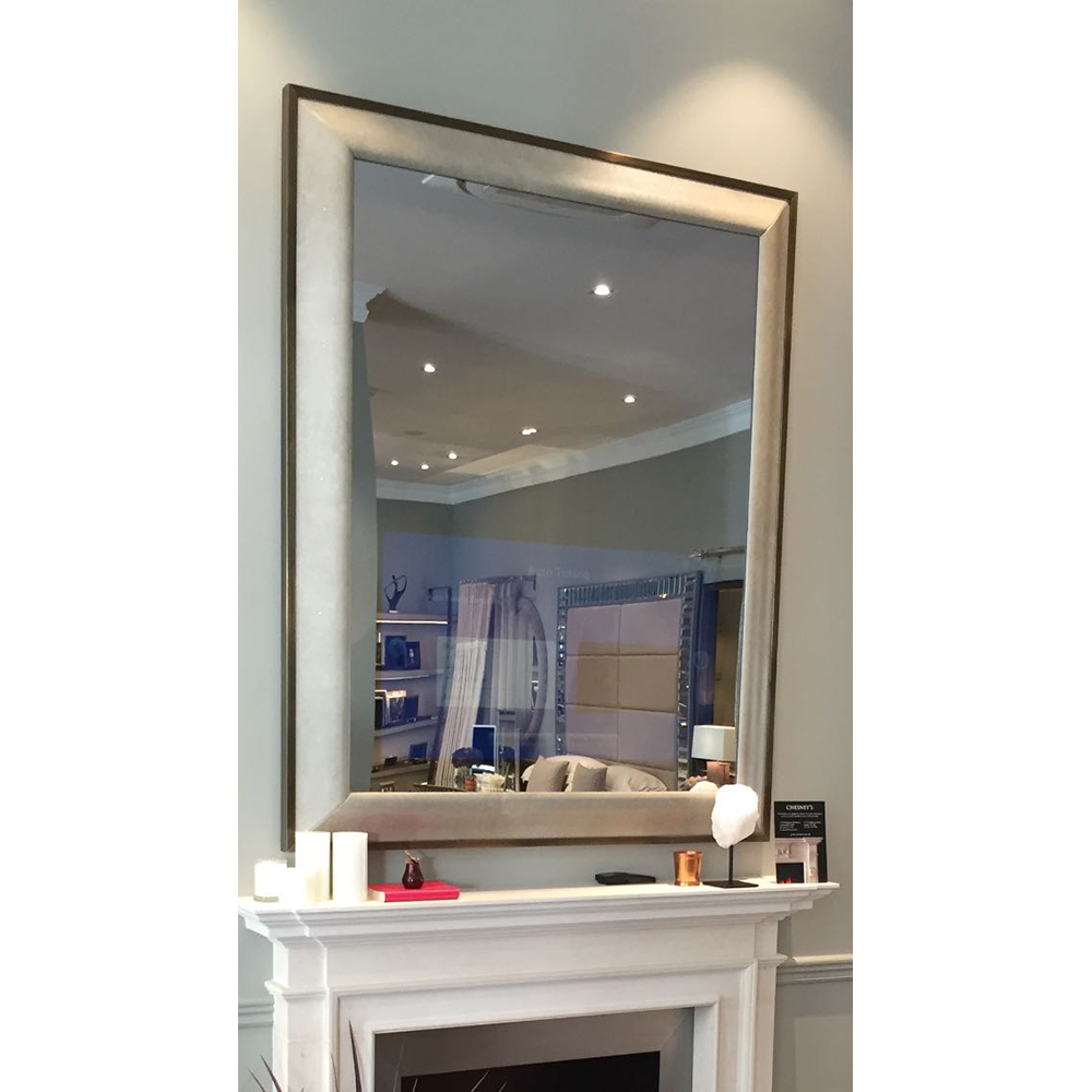 "OGEE TV MIRROR FINISHED IN SMOKE FAUX SHAGREEN WITH ANTIQUE BRONZE TRIM HOUSING 40"" TV     Dimension:  W 130  cm  x  H 160  cm"