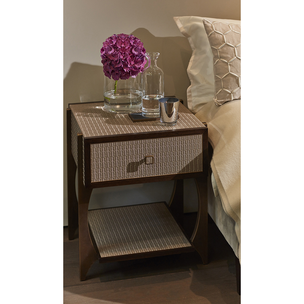 BELVEDERE BEDSIDE FINISHED IN PLATINUM HERRINGBONE, DARK BROWN OAK AND ANTIQUE BRASS FITTINGS   Dimension: W 50cm x D 50cm x H 60cm