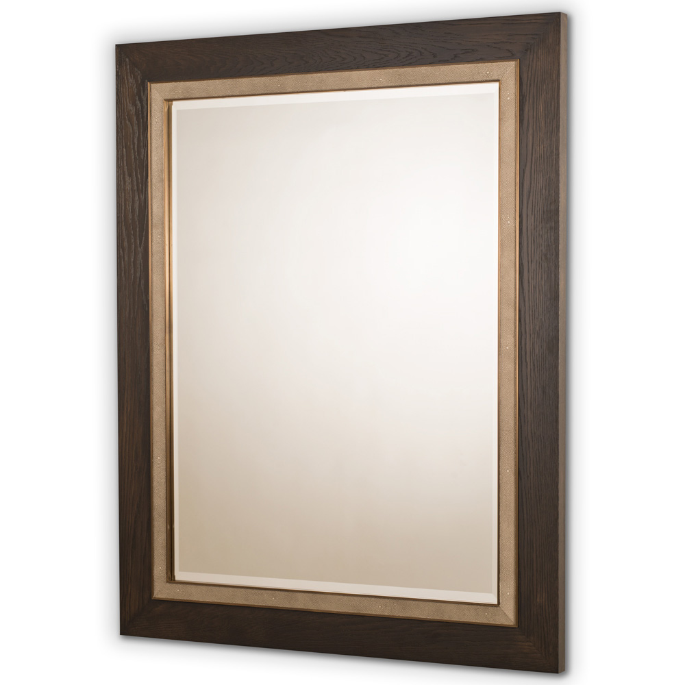 SLOANE MIRROR CHARCOAL OAK ANTIQUE BRASS AND SMOKE SHAGREEN   Dimension: W 120cm x H 150cm