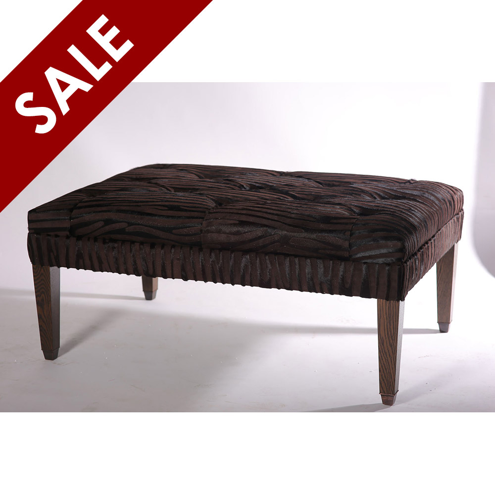 £1,895.00  ex VAT  was £3,992.00   BYZANTINE FOOTSTOOL FINISHED IN BROWN STRIPE HAIR ON HIDE AND OAK LEGS   Dimension: W 120cm x D 85cm x H 50cm