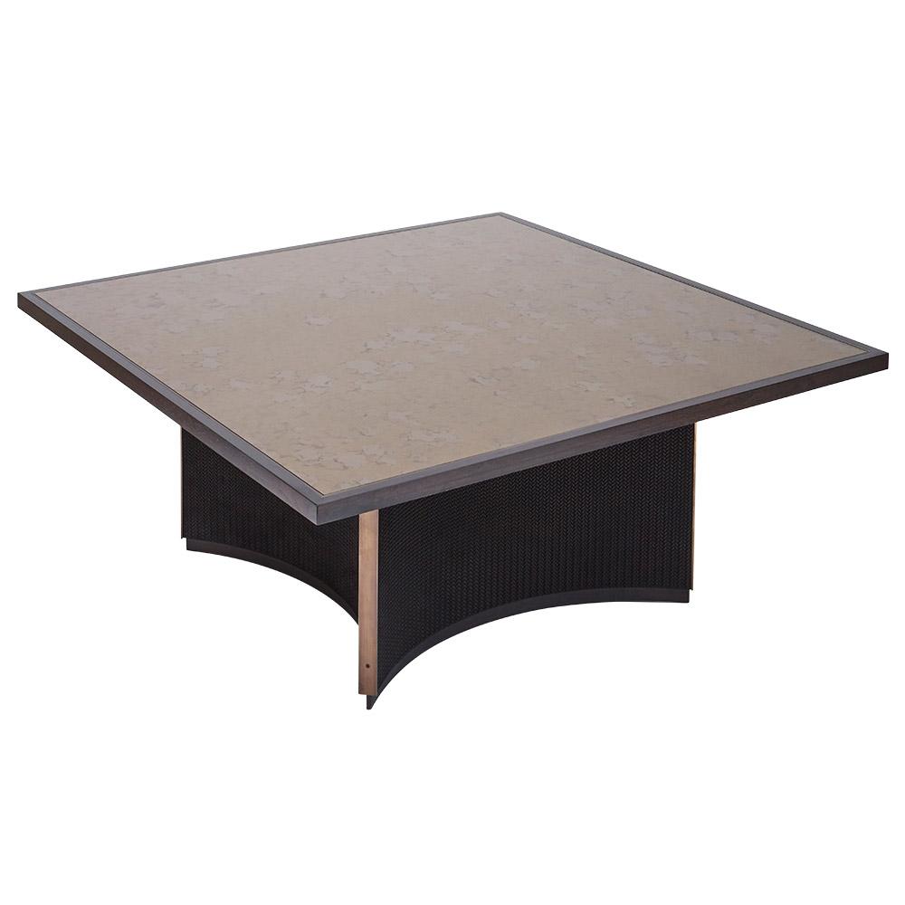 GRAMERCY COFFEE TABLE IN BLACK SUEDED HERRINGBONE LEATHER, ANTIQUE BRASS AND DARK WALNUT   Dimension: W 120cm x D 120cm x H 50cm
