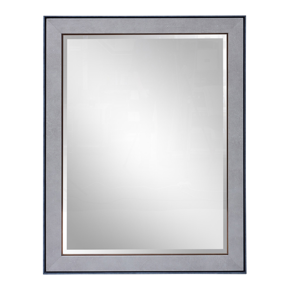 CARLTON MIRROR CHARCOAL TRIM SMOKE SHAGREEN AND ANTIQUE BRASS DETAIL   Dimension: W 110cm x H 140cm