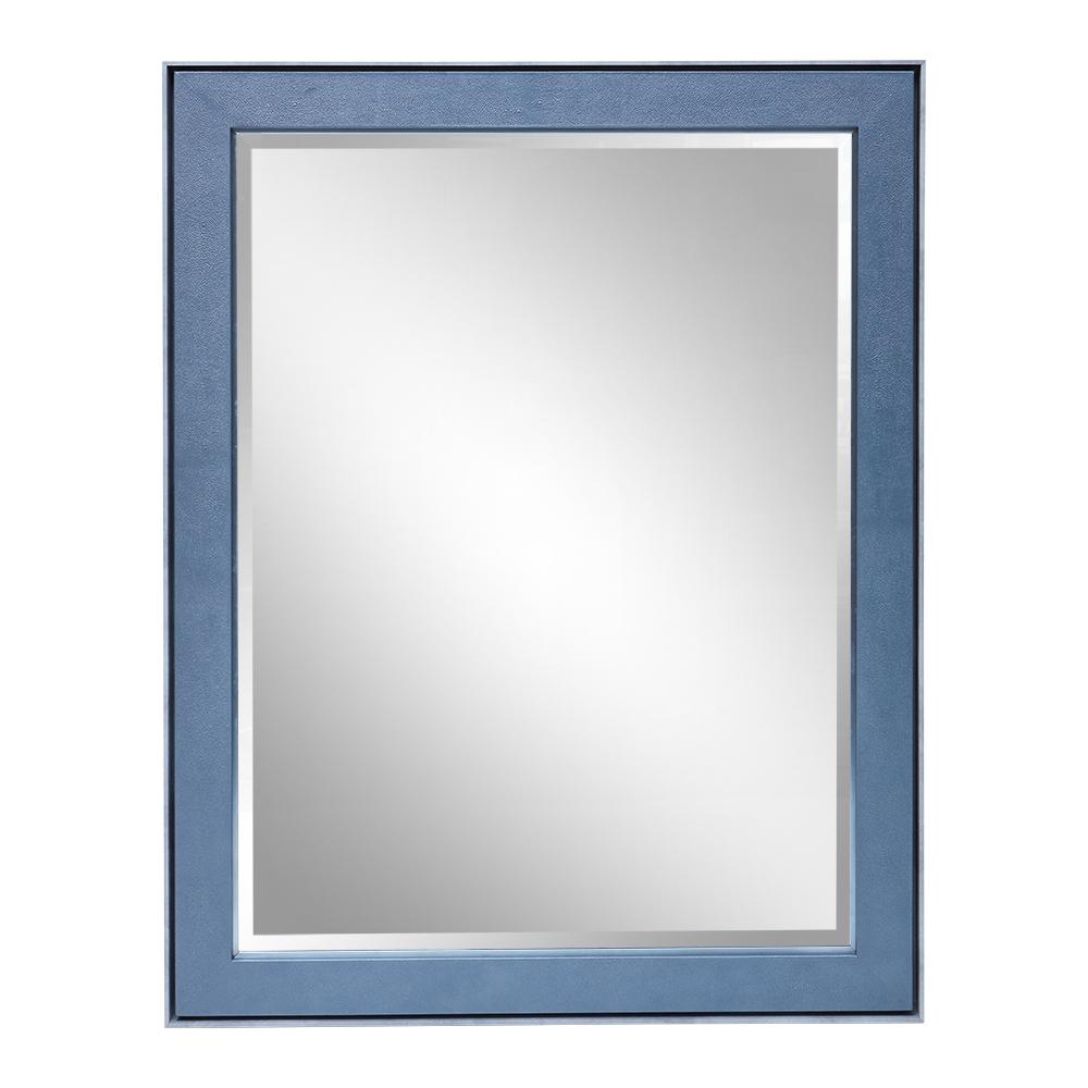CARLTON MIRROR LIGHT GREY TRIM PETROL BLUE SHAGREEN AND ANTIQUE SILVER DETAIL   Dimension: W 110cm x H 140cm