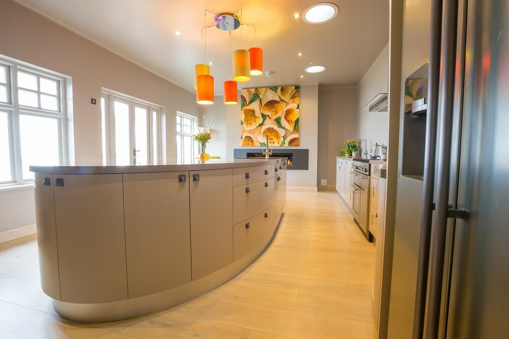 Painted Curved Island Kitchen