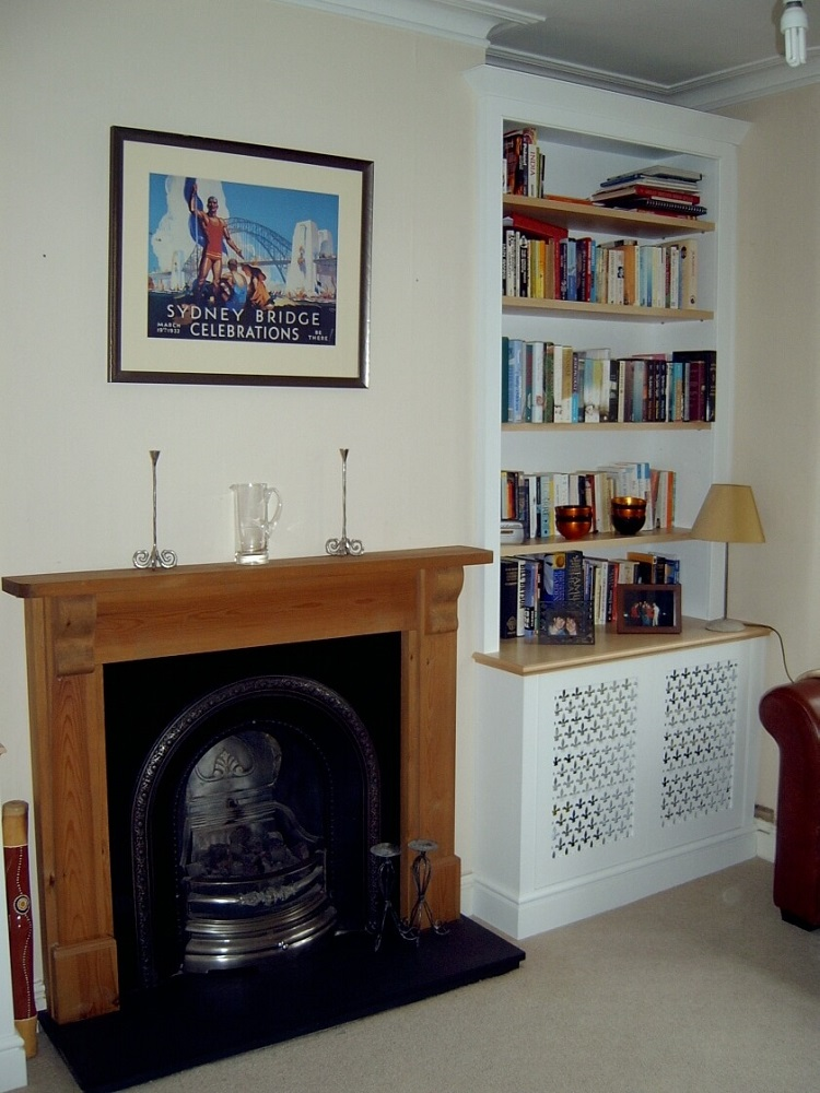 Alcove storage and shelves
