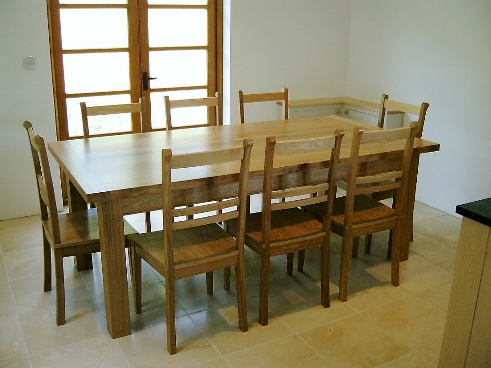 Solid Oak Dining Table and Bespoke chairs