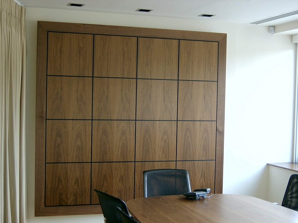 Walnut audio visual wall