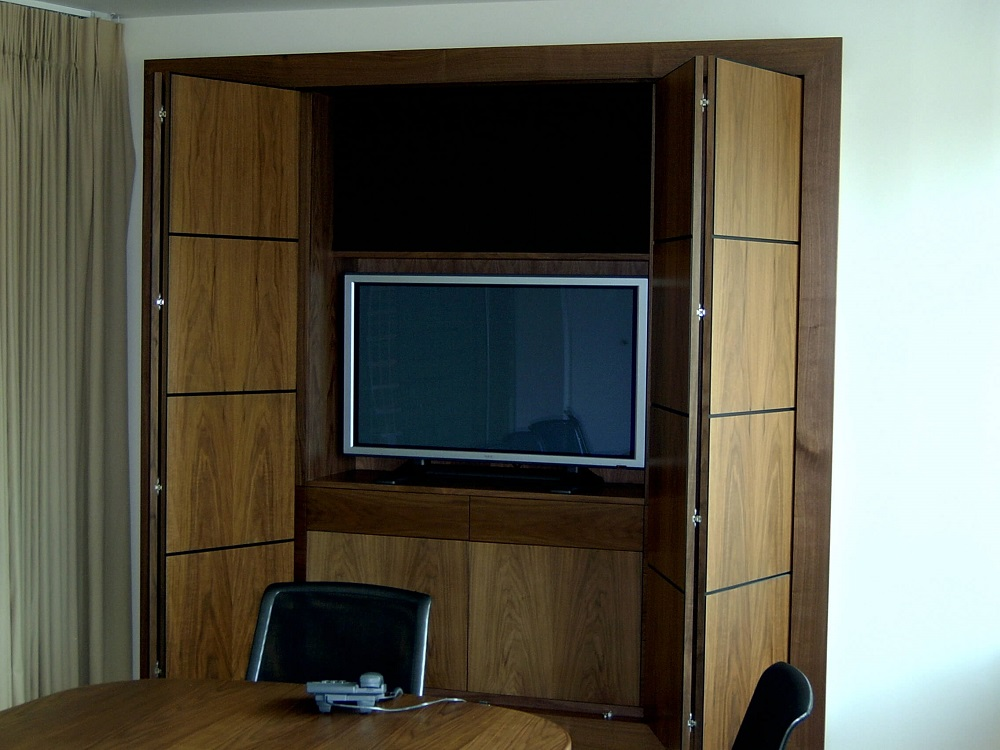 Walnut audio visual wall open