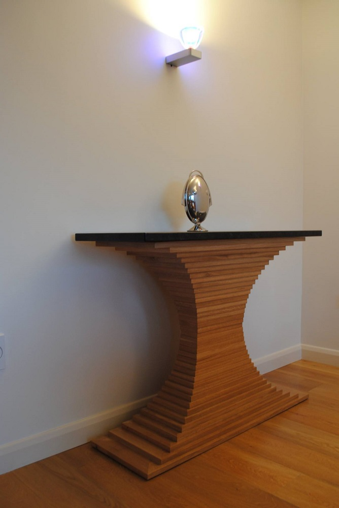 Oak console table with a granite top
