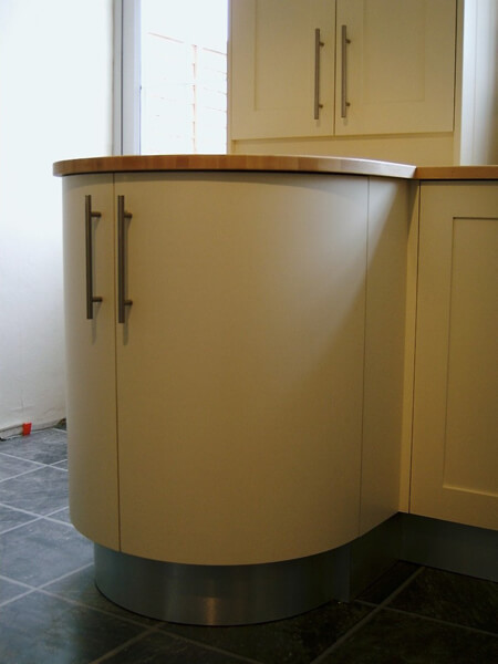Painted and oak curved cabinet
