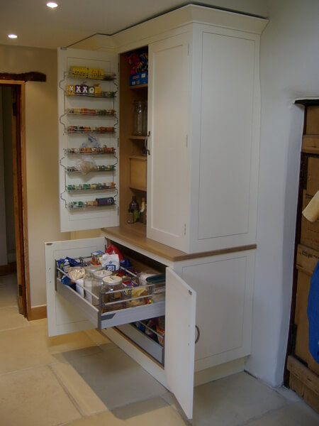 Painted larder cupboards open