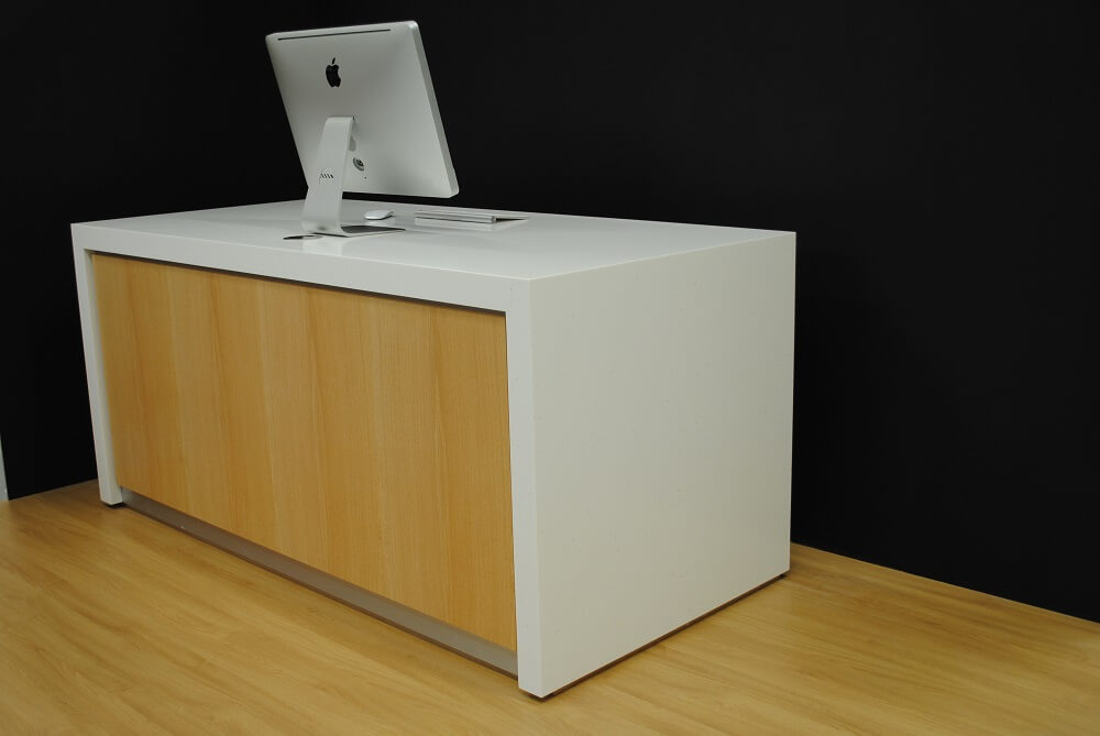 Jasmine White Corian and Oak Reception Desk