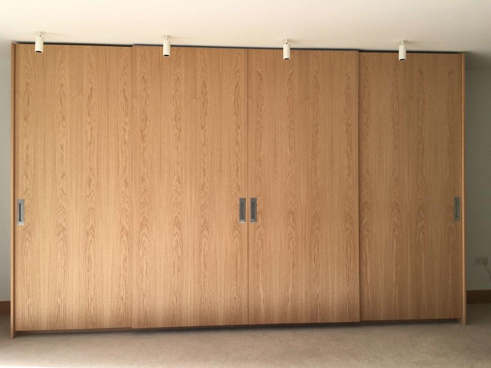 Oak wardrobe with sliding doors
