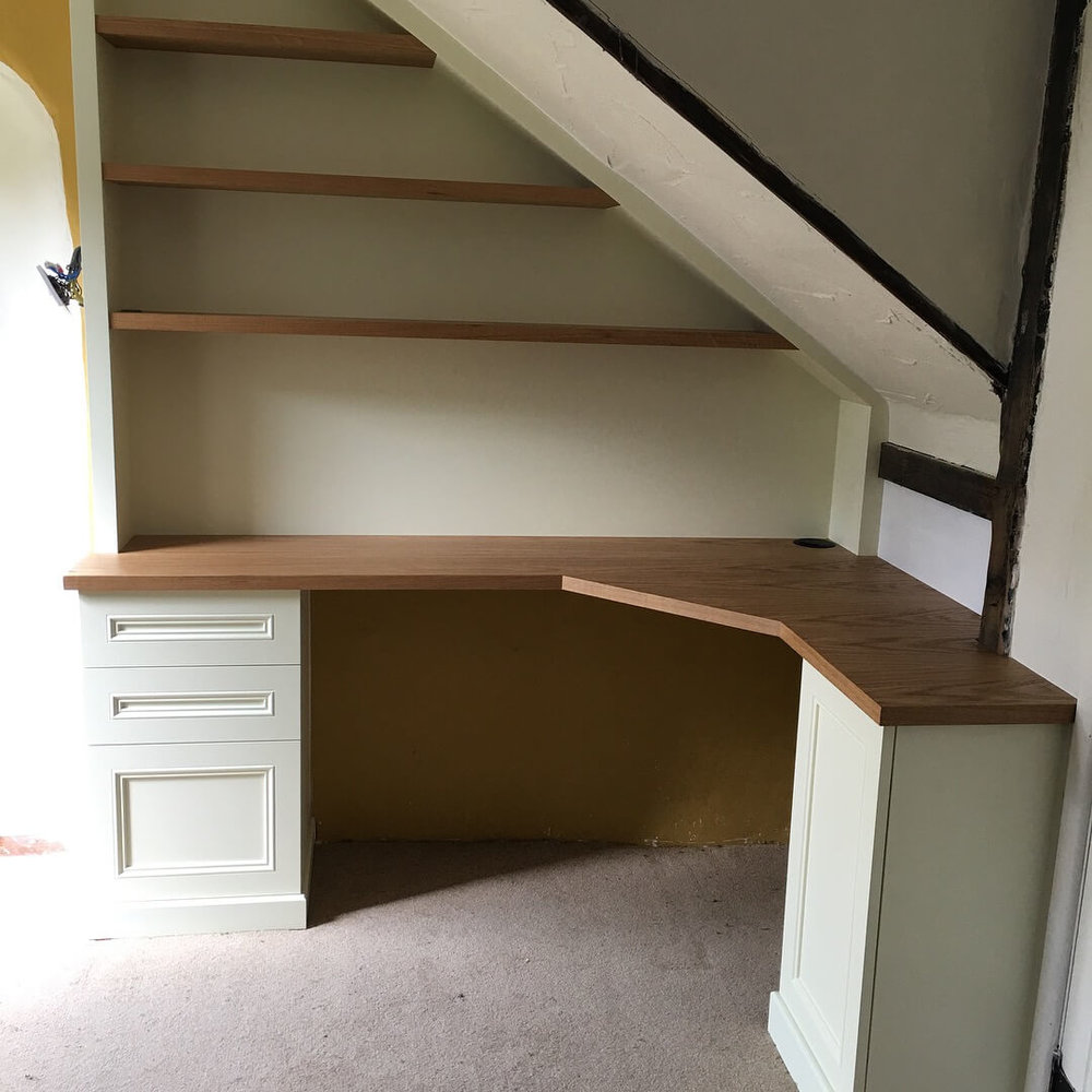 Bespoke desk with oak top and painted storage