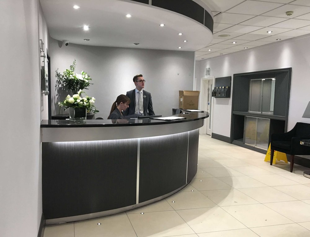 The newly updated Barnstaple Hotel reception desk
