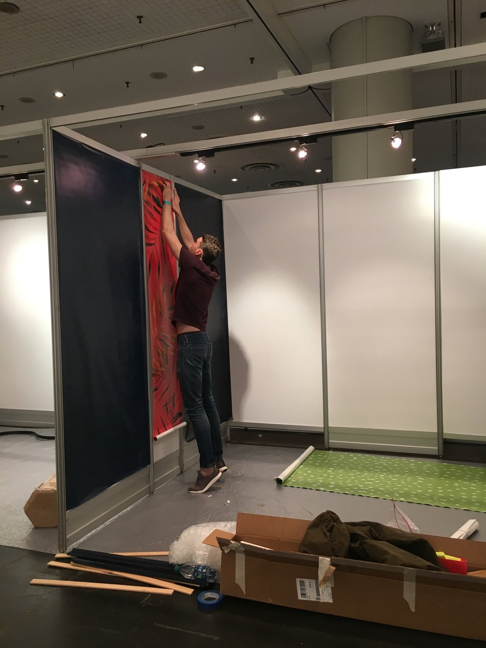 The hubs helping to set up the booth