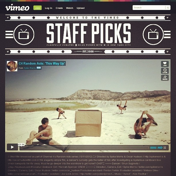 This is like a dream come true or some shit. Thank you Vimeo staff!