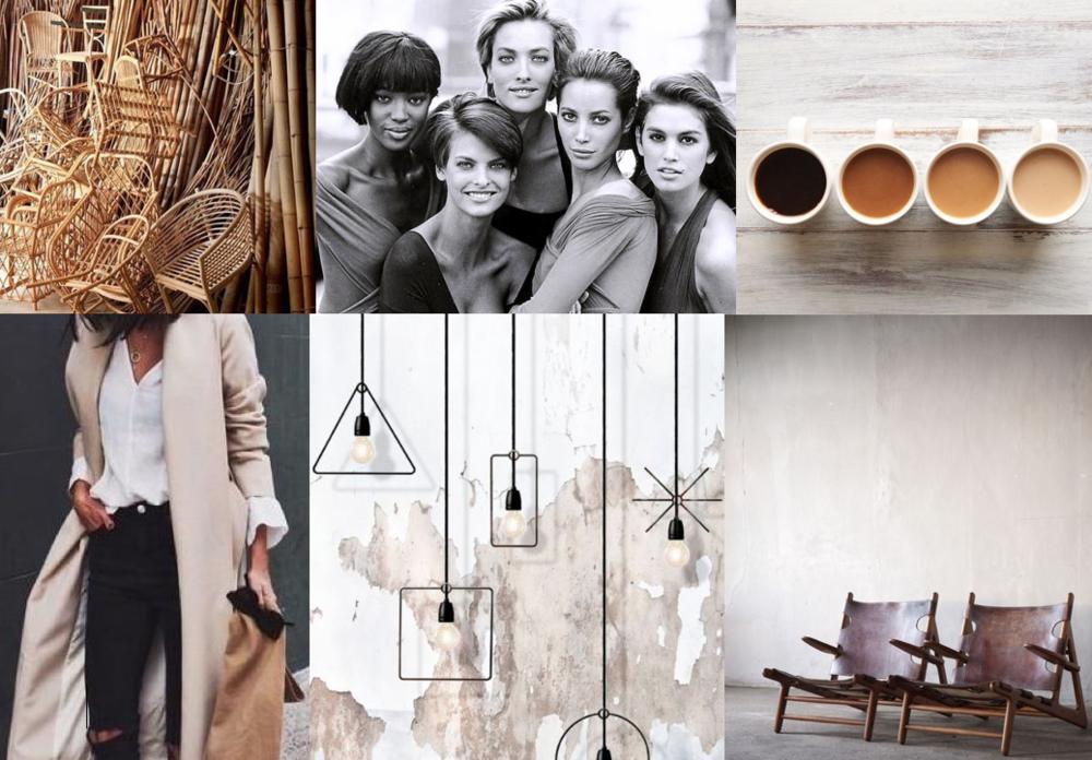 photo credit/source: 1.bamboo chairs côté maison (photo via le retour design du rotin ) - 2. original super models (photo via ell.com)  - 3. coffee color palette  (photo via buzzfeed lauren zaser) - 4. nyc street style (via nona gaya)  - 5. geometric lamps by micro macro (photo via coco lapine design) - 6. two wood + leather chairs (via anna gillar.se)