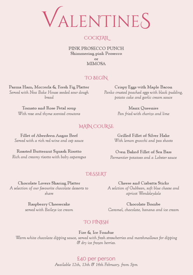 Valentines Evening Menu