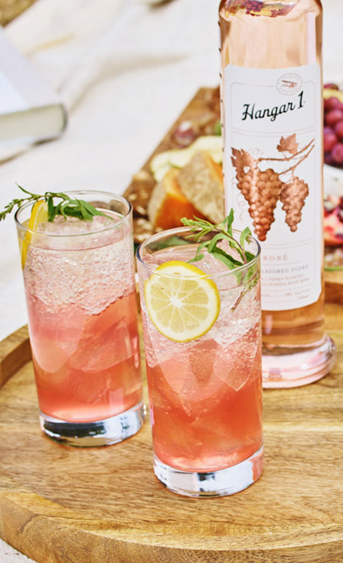 Rosénade - 2 oz Hangar 1® Rosé Vodka4 oz lemonadeClub soda, to topPREPARATIONCombine vodka and lemonade in a Collins glass or stemless wine glass over ice. Stir gently, and top with club soda. Garnish with a lemon wheel.