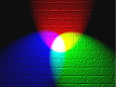 primer: RGB MIX boja + kako se iz RGB-a dobija CMYK.  Tri izvora belog svetla sa 3 razlicita filtera. CRVENI, PLAVI I ZELENI.