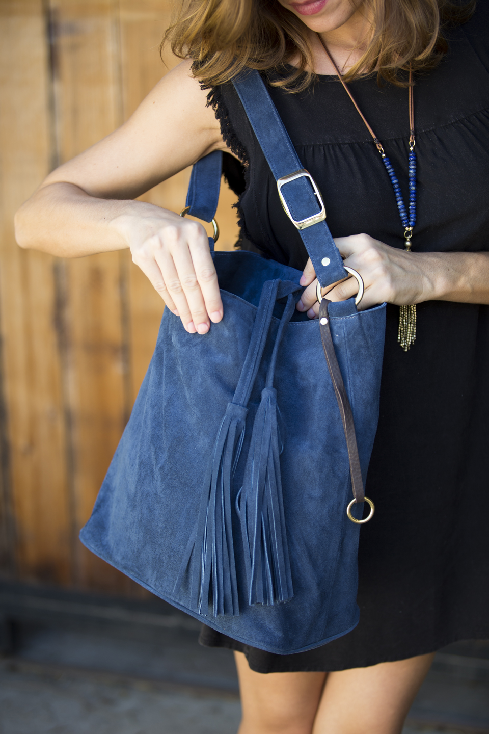 Shop the Look   INA SUEDE HANDBAG   THE TASSEL NECKLACE