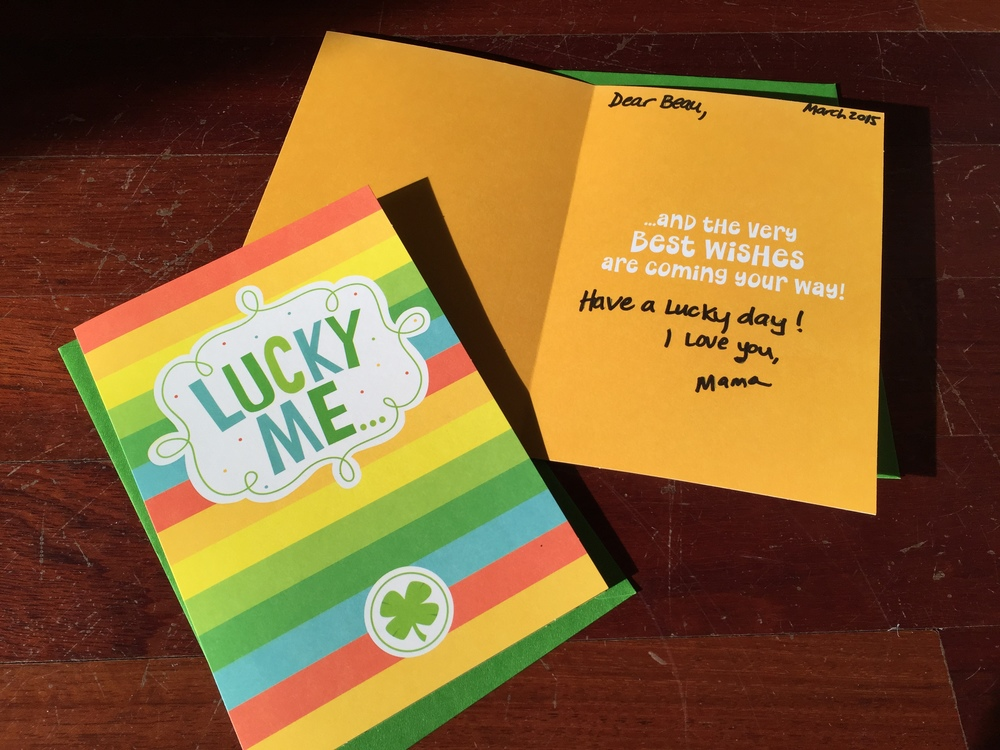 Because time flies, Ialways make sure to write the year on the cards. I try to pick cardsthat fit each child.These are two different cards for my two very different kids. ($1 for two at Dollar Tree).