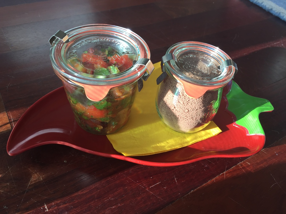 Found these jars at Sur la Table. You can give one container of each  pinch  - one of salsa and one of the Mexican Coffee ole mix. Tie a note with ways you like to enjoy eachitem.be sure to include on the note that you made them. Or you could give a jar of the salsa with a bag of your favorite tortilla chips.