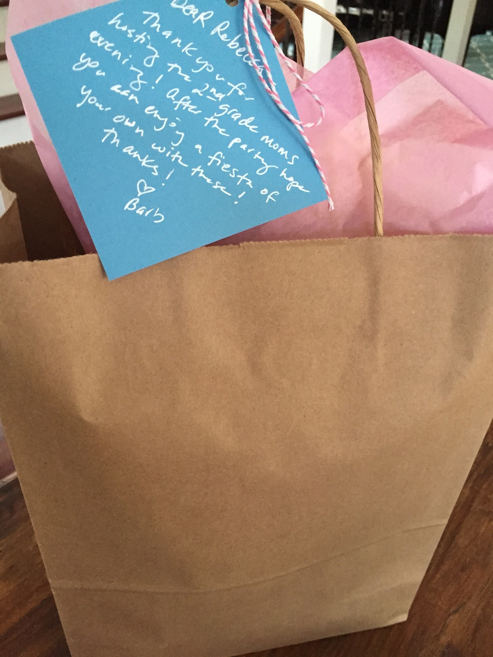 My friend, Rebecca, hosted a Monday NIght event with another friend, Meredith. I added a note to the bag to tie it all together.