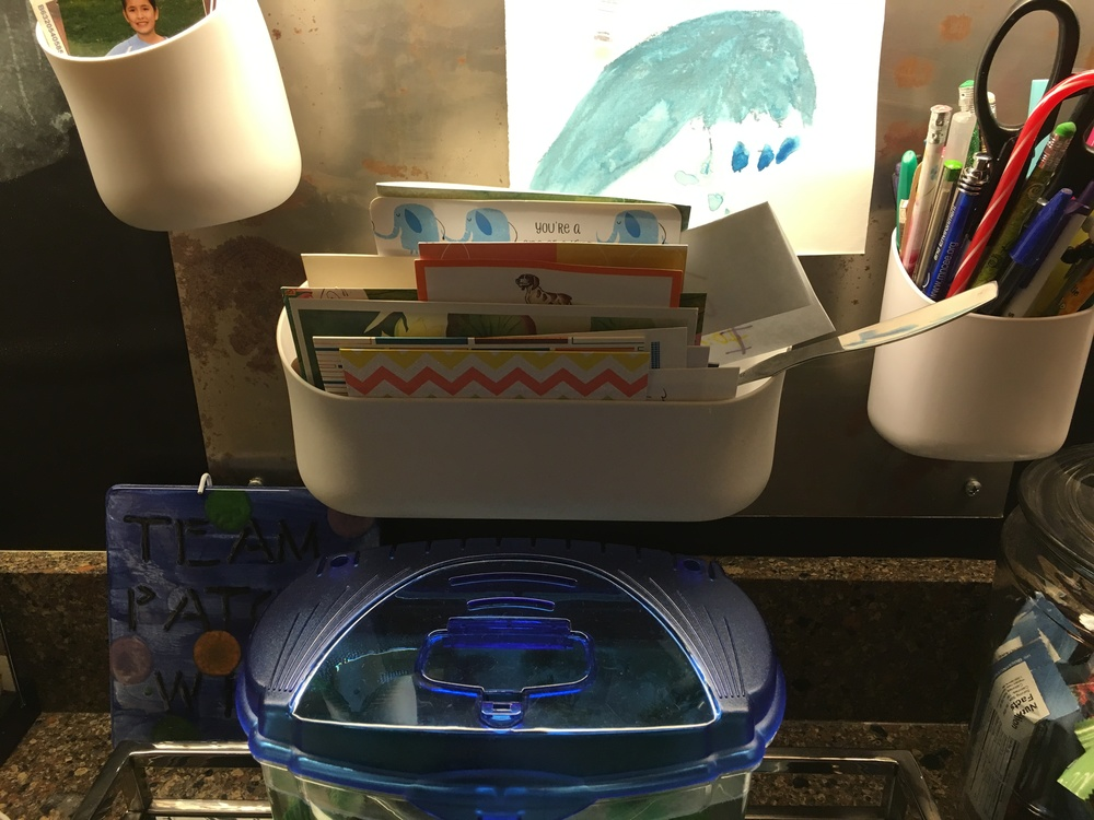 "Our fish Viking lives under the ""Thank You Card"" collection basket."