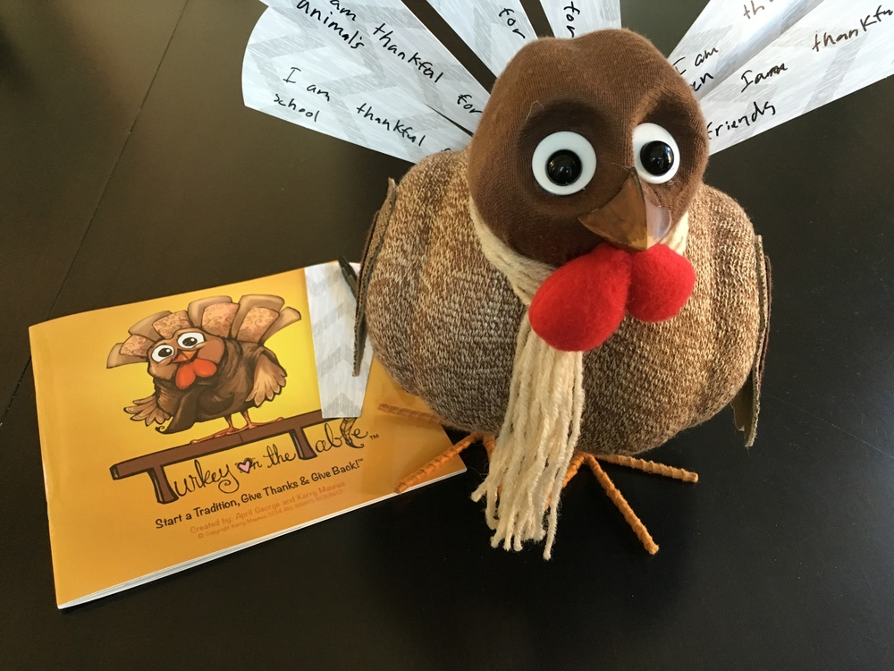 "Included in the    Turkey on the Table  kit: a children's book, a pen, ""feathers"" which are made out of paper and this turkey. Aww, cute! My daughter wrote on almost all of the feathers leaving us with only a handful.  Luckily, I bought another pack of feathers!"