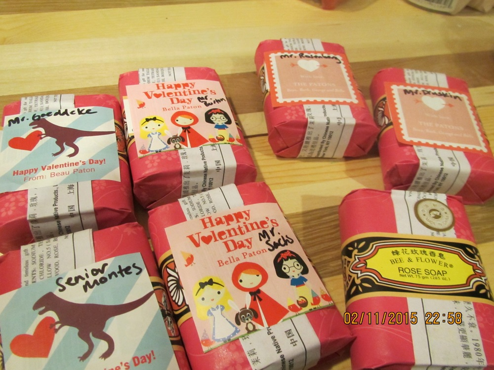 Valentine sticker labels were from Tiny Prints at 50% off. Saved the step of wrapping by putting the labels right on.