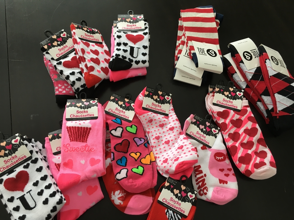 All the feminine socks are from The Dollar Tree and the Toe Up socks are for the male teachers.