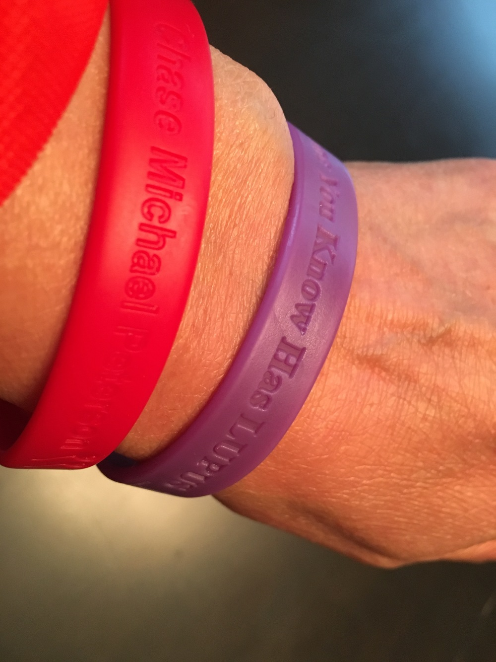 I will continue wearing this purple rubber bracelet that I've had on since April 12th (and haven't taken it off) until my new one arrives.