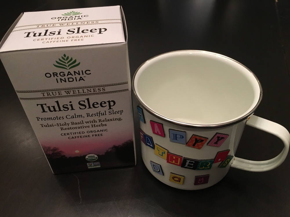 Tea is from Whole Foods and mug is from Blick.