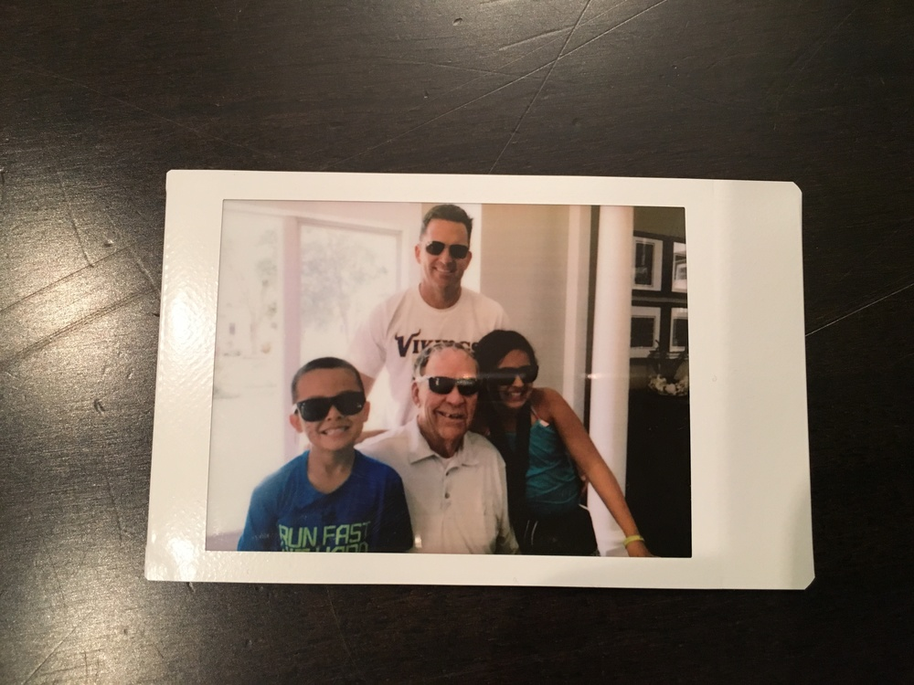 Photo taken with the hub's iphone and printed with his new Father's Day gift - FujiFilm Instax printer.  We gave a copy to his dad for an instant  thoughtful pinch .