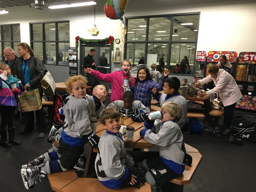 Instagram Message: Celebrating Beau's Golden Birthday last night at hockey with churros and hot chocolate.