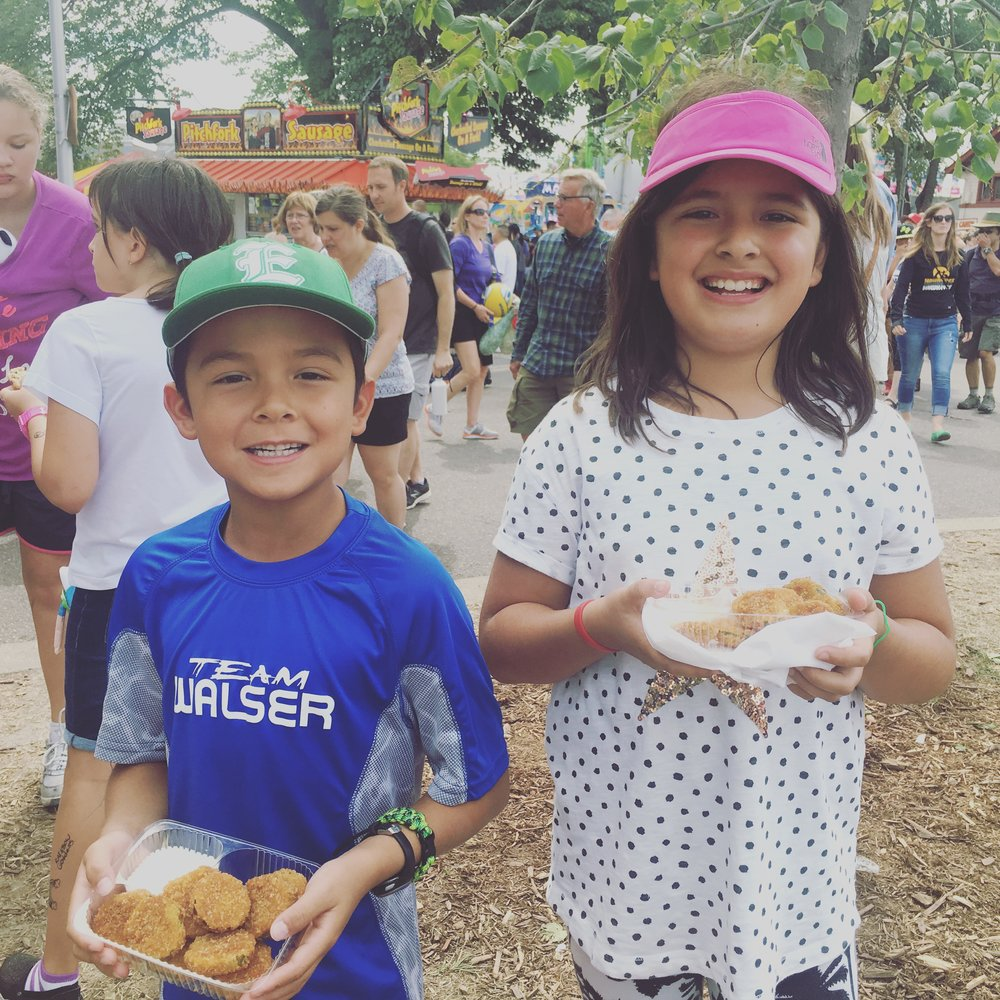 Instagram Message: These fried-pickle-eating kids love their grandparents. Grandparents Day is on Sun 9/11. Show u care. Click on the pictures in the blog-cool new feature.