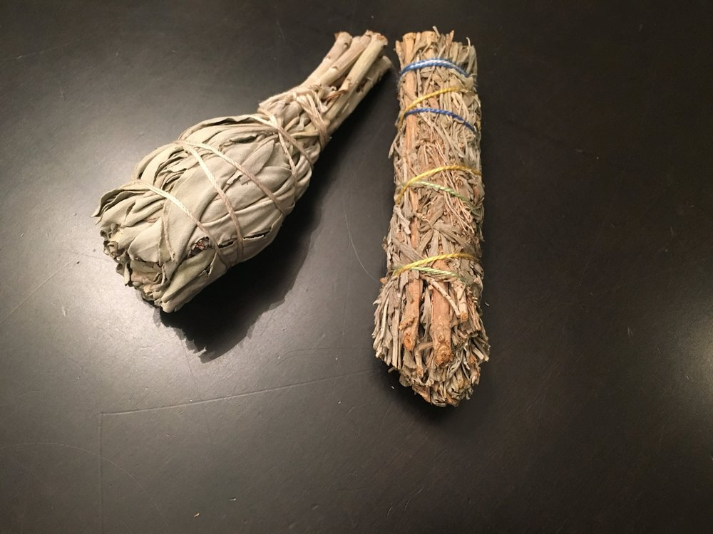 I know what you are thinking but these are NOT oversized joints.  The one bundle on the left is just  sacred white sage  and the one on the right is a  mix  of sacred white sage, copal, sweetgrass, lavender flower.