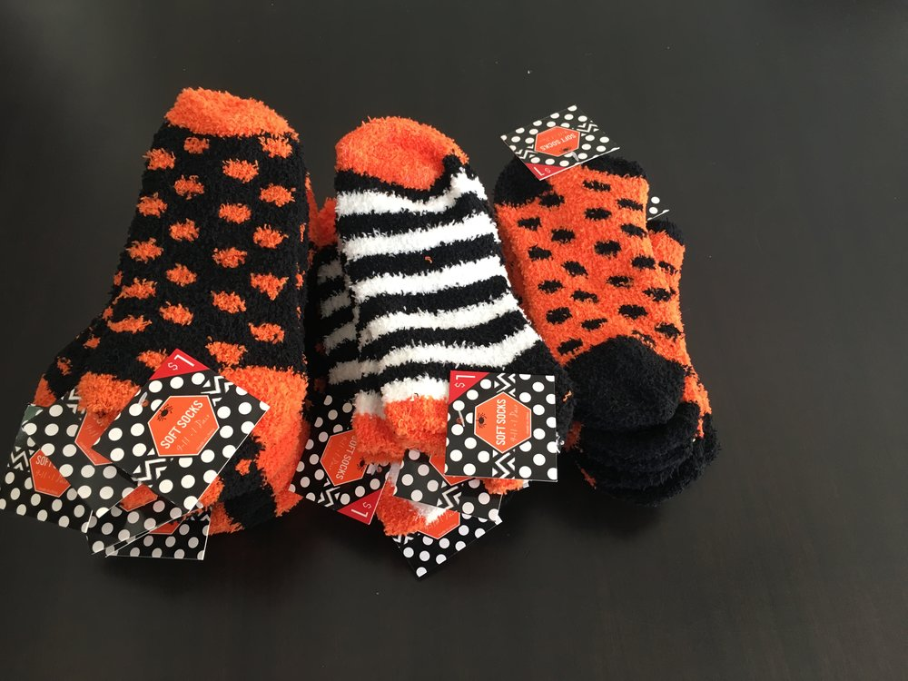 Trick or treat, smell my feet. I found these socks at Target last year after Halloween and they were half off.  Yes, folks, each pair was 50 cents. Even though I'm not in love with how they look - they feel so soft and fluffy.